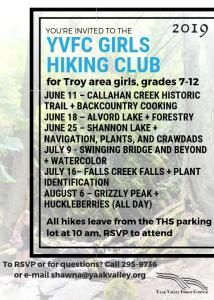 girls hiking club schedule 2019